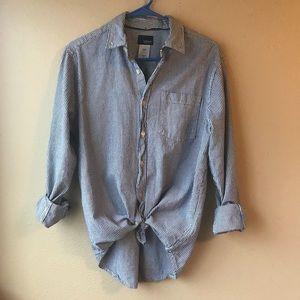 Vintage Blue & White Striped Button Up